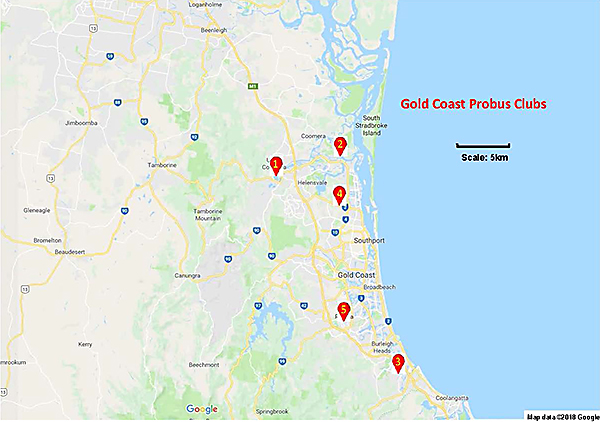 Gold Coast Clubs Map